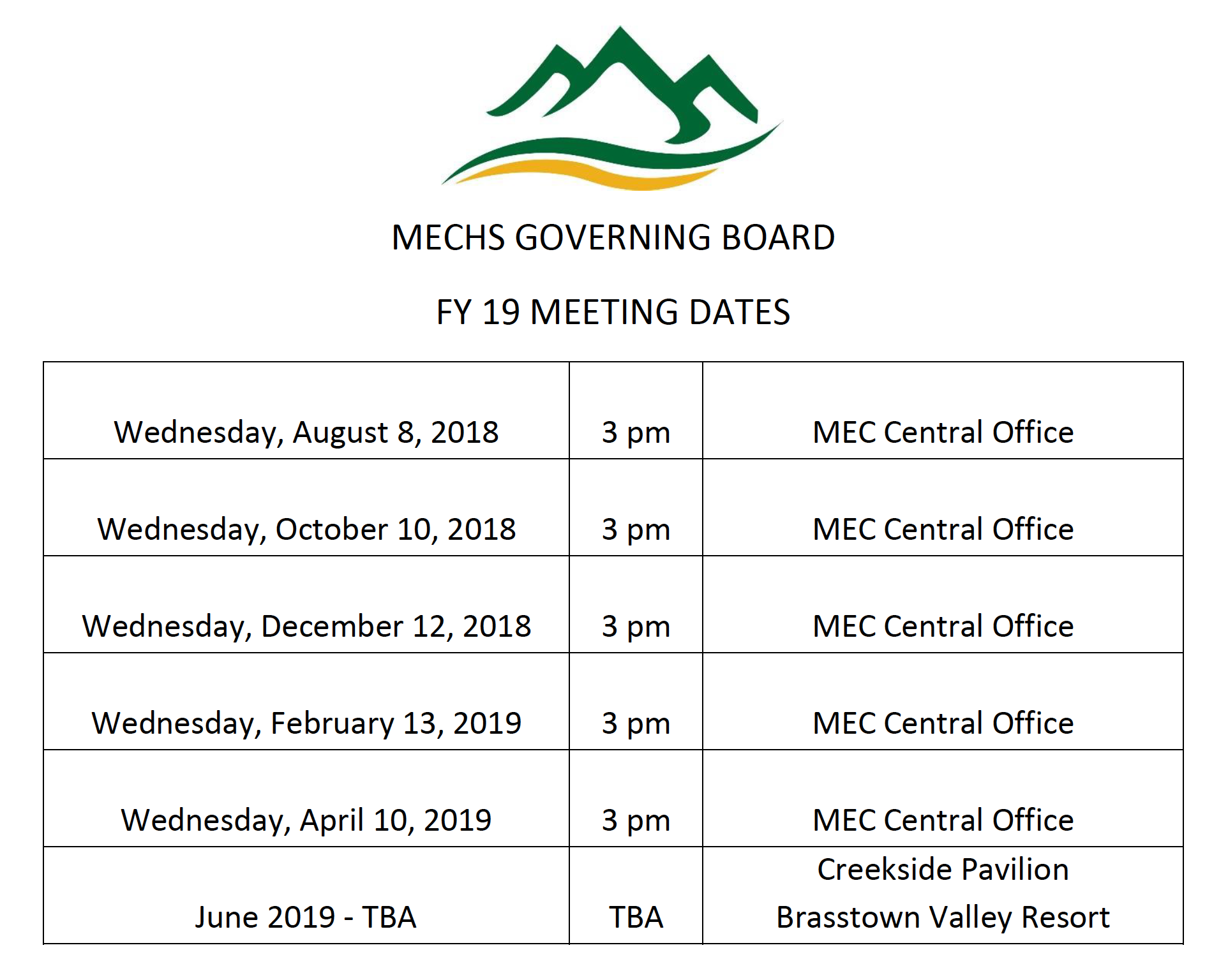 2018-2019 Board Meeting Dates