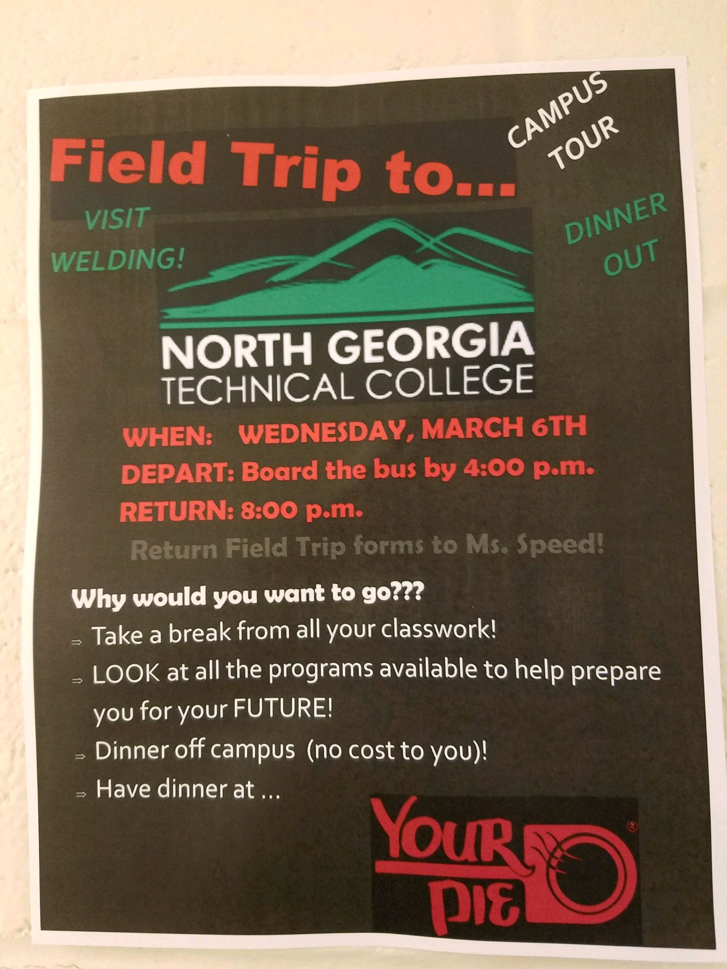 Rabun students, please be sure to attend school on March 6 to be a part of this exciting field trip!